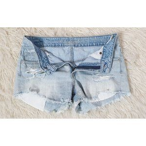 American Eagle Outfitters Blue denim cut off short